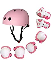Festnight Children Protective Gear Set 7 in 1 Adjustable Helment Knee Elbow Wrist Pads for Kids Skateboard Scooter Skating