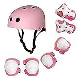 Honeytecs Children Protective Gear Set 7 in 1 Adjustable Helment Knee Elbow Wrist