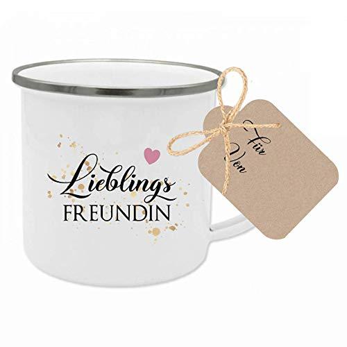 """Tasse mit Spruch """"Lieblingsfreundin"""" I Das perfekte Geschenk für die beste Freundin I Geschenkidee zum Geburtstag und als Dankeschön I mit Geschenkanhänger"""