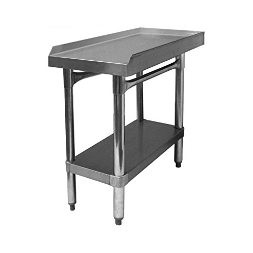 """GSW All Stainless Steel Commercial Equipment Stand with 1"""" Upturn on 3 Sides, 1 Undershelf & Adjustable Bullet Feet, 30""""W x 18""""L x 24""""H, NSF Approved"""