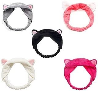 StyleZ 5PCS/Set Cute Kitty Cat Ear Headbands Women Girls Wash Face Spa Makeup Lovely Etti Wrap Hair Band