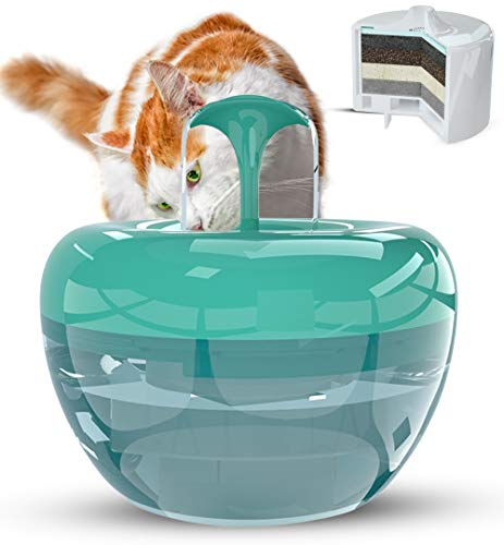 PARADING PETS TEAL Pet Water Fountain with Superior Filter – For Cats, Dogs, Birds, Pets, and Small Animals – Patented 5-Layer Filtration, Large Quantity, Quiet Electric Pump