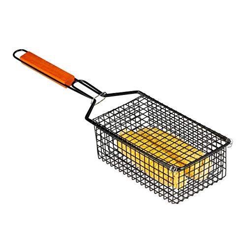 Relaxdays Grillkorb, für Maiskolben & Gemüse, verschließbar, antihaft, Griff, Grillhalter, HBT 8,5 x 13 x 54 cm, schwarz