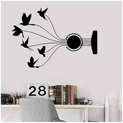 Hanzeze Gitaar string muur decal muziek kamer vogelhuisje vinyl muziek glas raam sticker art 42x59 cm