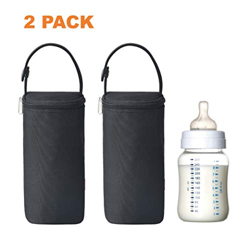 Bellotte Insulated Baby Bottle Bags (2 Pack) - Travel Carrier, Holder,Tote,Portable Breastmilk Storage (Black)