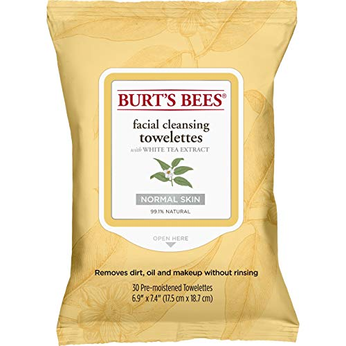 Burt's Bees Natürlich Feuchttücher zur Gesichtsreinigung für normale Haut mit Weißtee-Extraxt, 1er Pack x 30 Stück