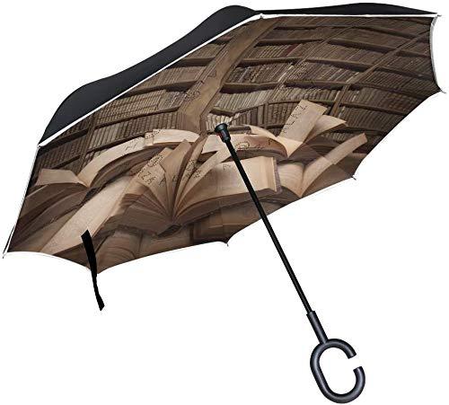 Dubbele Laag Omgekeerde Paraplu's Boek Onderwijs Omgekeerde Paraplu Winddicht Waterdicht voor Auto Outdoor Reizen Volwassen Mannen Vrouwen