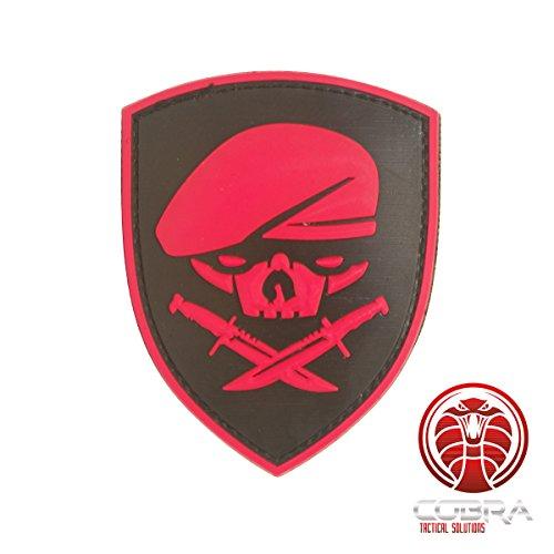 Cobra Tactical Solutions SAS Beret Skull Parche PVC Táctico Moral Militar con Cinta adherente de Airsoft Paintball para Ropa de Mochila táctica