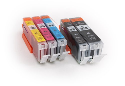 5er Set - kompatible Tintenpatronen zu CANON PGI-550 XL / CLI-551 XL - geeignet für CANON Pixma iX6850 / iP7250 / iP8750 / MG5450 / MG5550 / MG6350 / MG6450 / MG7150 / MX725 / MX925