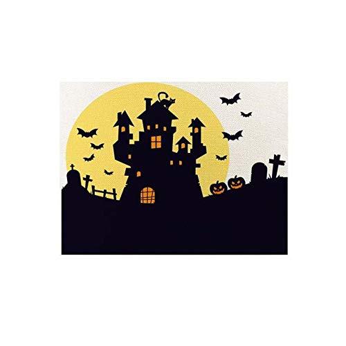 NTT Salvamanteles Individuales,6 uds, Mantel de Calabaza para Halloween, Mantel de Lino para Halloween, servilleta para café, té, Posavasos, Mantel Individual, decoración de Mesa-6_420 x 320 mm