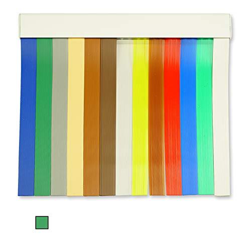 Cortinas Exterior Puerta de Tiras | Material Plastico PVC y Barra Aluminio | Ideal para Terraza y Porche | Antimoscas | Verde | 210 * 90