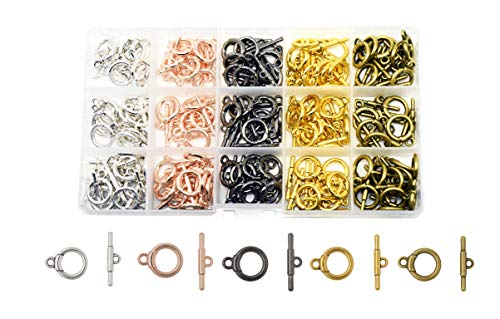 Mandala Crafts Toggle Clasp, T-Bar Closure from Metal for Jewelry Making in Bulk, Rose Gold, Bronze, Gunmetal, Silver, Gold Tone Round 120 Sets