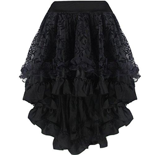Aiuem Falda del Vestido gótico Victoriano Steampunk asimétrico Steampunk del...