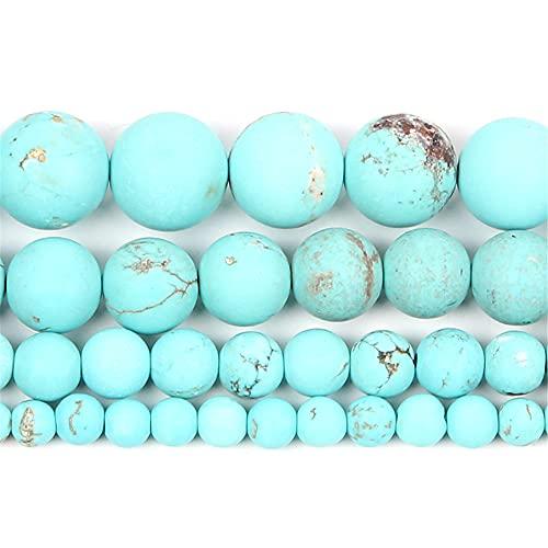 Piedra natural esmerilada azul turquesa redondo cuentas sueltas fabricación de joyería para la costura pulsera DIY Strand 4-12 Mm H7435 8mm sobre 48pcs