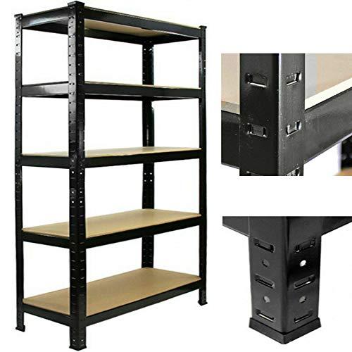 Estantería de almacenamiento resistente de 175 kg, capacidad de carga por estante, estantería de 5 niveles para cocina, oficina, almacén, garaje, habitación, color negro (150 x 70 x 30 cm)