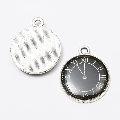 LLBBSS 30 Piezas 21X18Mm DIY Color Esmalte Reloj De Bolsillo Encantos De Reloj Colgante De Aleación para Pulsera/Pendiente/Collar Fabricación Hecha A Mano
