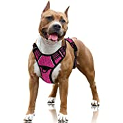 BARKBAY No Pull Dog Harness Large Step in Reflective Dog Harness with Front Clip and Easy Control Handle for Walking Training Running with ID tag Pocket(Pink/Black,L)