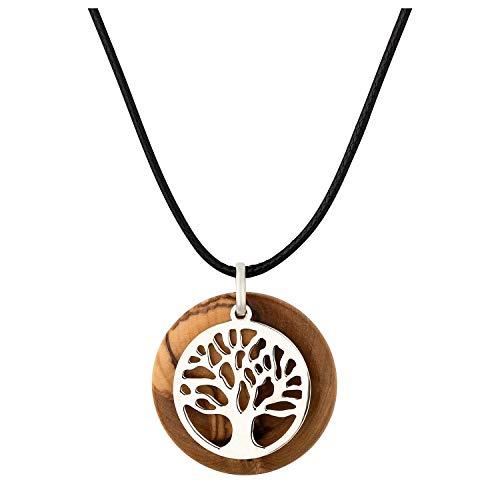 MaMeMi Wunderschöne Kette mit Lebensbaum aus 925er Sterling-Silber vor Olivenholz Anhänger aus dem Heiligen Land, 3cm