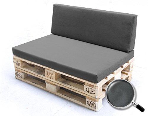 Palettenpolster für Lounge- und Sofamöbel Schaumstoff RG 35 – Set Sitzpolster + Rückenpolster 120x80x12cm + 120x40x20/15cm mit Bezug Airtex dunkelgrau