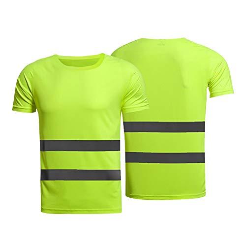 Leezo Camiseta Reflectante de Seguridad Camisetas de Manga Corta de Alta Visibilidad Tops Equipo Seguro para Obras de construcción