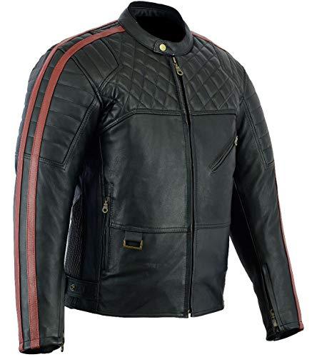 Bikers Gear Australia Limited Red Baron Premium hochwertiger Weiches Leder Motorrad Jacke, Schwarz Oxblood, Größe S