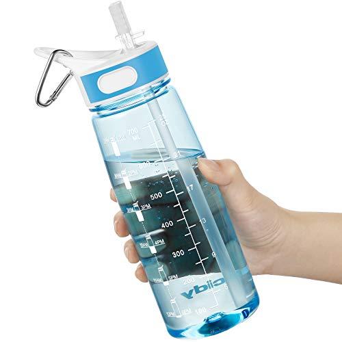 Borraccia Acqua, 800 ML Bottiglia Acqua con cannuccia e manico, Borraccia Palestra senza BPA, borraccia con indicatore di tempo per ricordare l'ora di bere, Ideale per All'aperto, Yoga e Lavoro