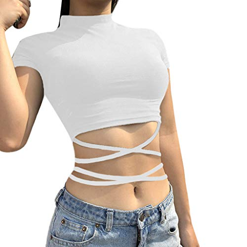 TWIFER Kurz Sommer T Shirt Damen Strappy Kurzarm Reine Farbe Top Mode Shirts Bluse