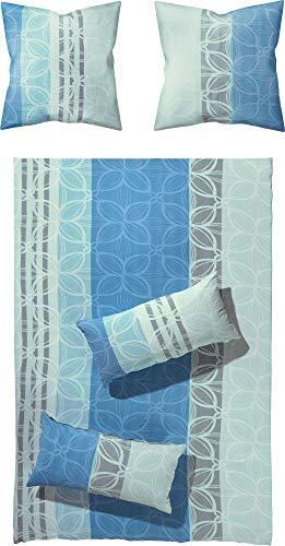 Erwin Müller Bettwäsche, Bettgarnitur Seersucker 100% Baumwolle blau-grau Größe 135x200 cm (80x80 cm) - bügelfrei, mit praktischem Reißverschluss, temperaturausgleichend (weitere Farben, Größen)