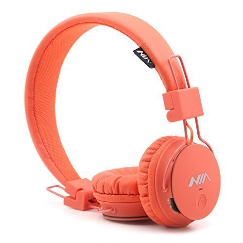 Wireless Headphones, GranVela X2 Lightweight Foldable Multifunction Headphones with FM Radio, TF Card Player, Microphones,Detachable Cable and Sharing Port (Orange)