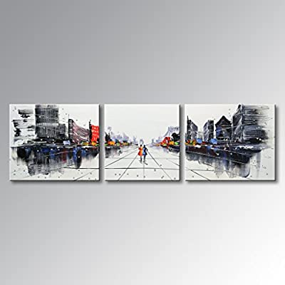 Artland Art Hand Painted Palette Knife Oil Paintings Modern Wall Art Home Decoration Abstract Cityscape Building Artwork Framed Ready to Hang by