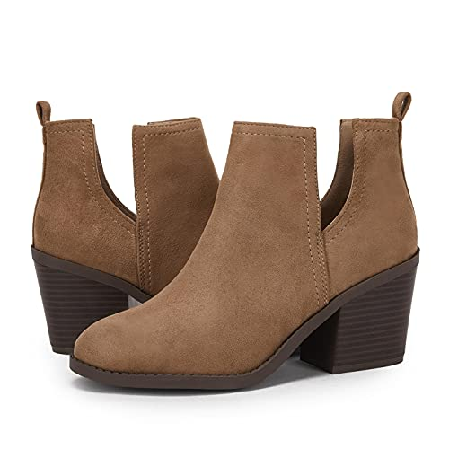 Womens Cutout Booties Chunky Block Heel Round Toe Slip On Western Ankle Boots