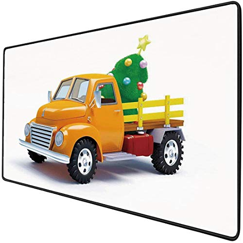 Mouse Pad Gaming Functional Christmas Thick Waterproof Desktop Mouse Mat Yellow Vintage Truck and Decorated Tree with Star Topper Old Farm Motor,White Yellow Green Non-slip Rubber Base