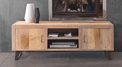 Meuble TV pour salon en bois massif aulne 2 portes.