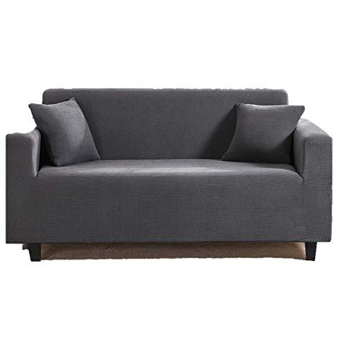 Mayama Sofabezug, dehnbar, für 3-Sitzer-Sofa, einfarbig, Möbelschutz, Bezug für Sessel und Sofas, Schonbezüge für 3-Sitzer (Dunkelgrau, 195 – 230 cm)