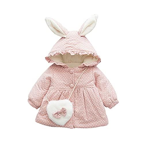 Soapow Abrigo de invierno para niña con capucha y orejas de conejo con bolsa de bowknot para bebé, Unisex, 2169521-AM85-2021-FBM, Lunares y florales, 100
