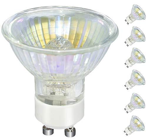 GU10 Bulb, 6 Pack Halogen GU10 120V 50W, Dimmable, MR16 GU10 Light Bulb with Long Lasting Lifespan, gu10+c 120v 50w for Track&Recessed Lighting, Gu10 Base Bulb, W50MR16/FL/GU10 (Clear Light Cup)