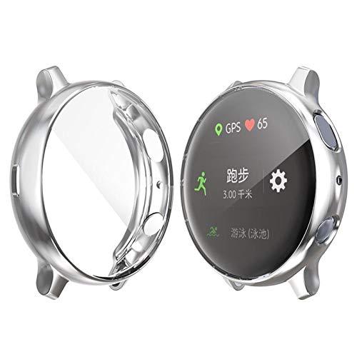 GZMYDF Funda Protectora para Samsung Galaxy Watch Active 2 40mm 44mm Smart Watch Accessories Plating TPU Protection Shell Funda de Cubierta (Color : Silver, Dial Diameter : Active)