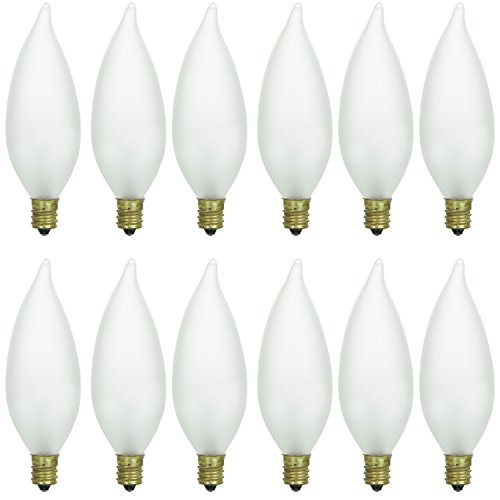 Sunlite 40026-SU 12-Pack Flame Tip Chandelier Light Bulbs 25 Watts, Candelabra Base (E12), 120 Volt, Frost, Incandescent, Dimmable, 12 Pack, 32K - Warm White, 12 Count