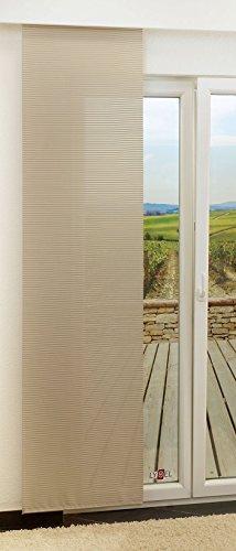 LYSEL Schiebegardine Groom halbtransparent mit Streifen in den Maßen 245 cm x 60 cm beige/beigegelb