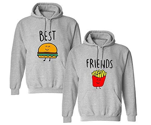 Best Friends Pullover für Zwei Mädchen Sister Beste Freunde Hoodie Set für 2 Damen Kapuzenpullover Sweatshirt Pulli Freundin BFF Geschenke Schwarz Grau (Grau1-Hoodie, S + S)