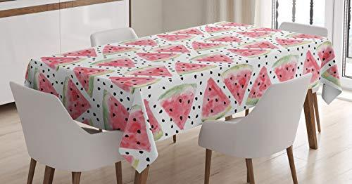ABAKUHAUS Aquarell Tischdecke, Stücke Wassermelone, Für den Inn und Outdoor Bereich geeignet Waschbar Druck Klar Kein Verblassen, 140 x 200 cm, Hellgrün Schwarz Korallenrot