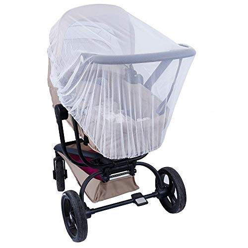 Lictin Baby Infant Insect Net, 57-inch-Diameter Elastic Stretches Crib Netting and Carrier Netting Insect Net for Stroller Bassinets Pushchairs Crib Baby Cart Full Cover Mosquito Net (White)
