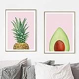 Estilo nórdico Aguacate Piña Fruta Arte de la pared Lienzo Posters e impresiones Cuadros de pared para la decoración del hogar de la sala de estar 23.6 'x 31.4' (60x80cm) Sin marco × 2