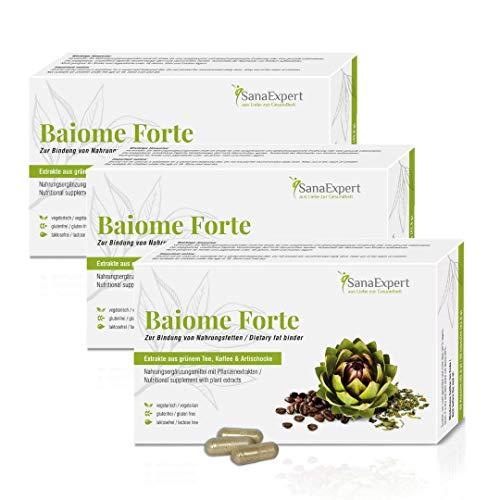 SanaExpert Baiome Forte, pflanzlicher Fettbinder zum Abnehmen, mit Artischocke Kaktus, Grüntee, Grüner Kaffee, vegetarisch, glutenfrei, 3 x 60 Kapseln