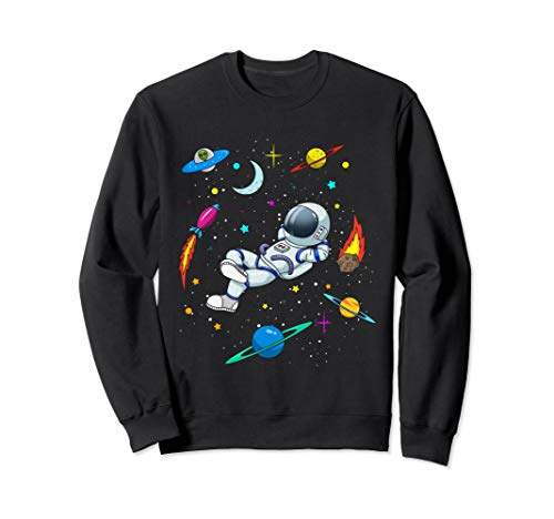 Cute Astronaut in Outer Space with Rockets and Aliens - Boys Sweatshirt