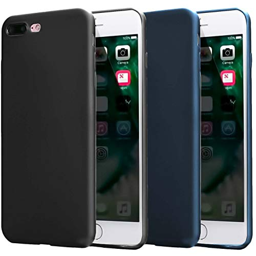 2 Pack Compatible with iPhone 8 Plus Case 2017,iPhone 7 Plus Case 2016, Thin Slim Fit Soft TPU Bumper Shell Anti-Scratch Resistant Shockproof Protective Mobile Phone Cover,Women Man,Black+Dark Blue