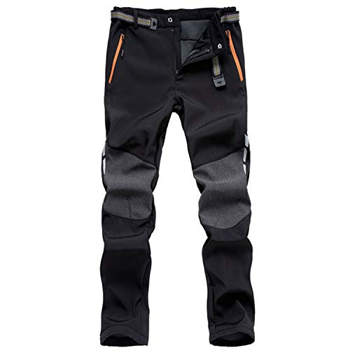 Photo of LHHMZ Men's Soft Shell Fleece Lined Hiking Trousers Outdoor Waterproof Breathable Thicken Winter Warm Walking Climbing Pants