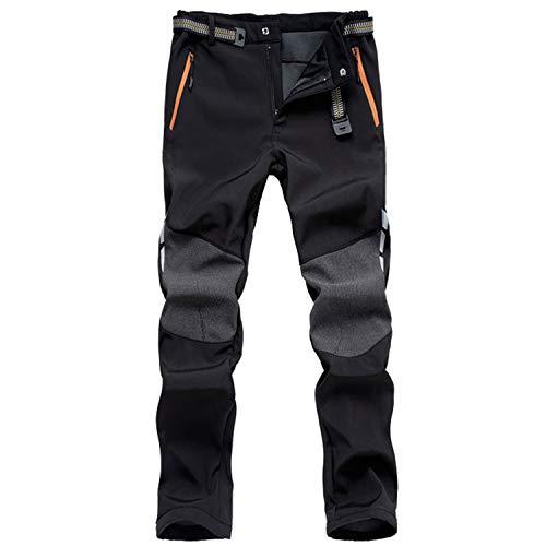 LHHMZ Men's Soft Shell Fleece Lined Hiking Trousers Outdoor Waterproof Breathable Thicken Winter Warm Walking Climbing Pants