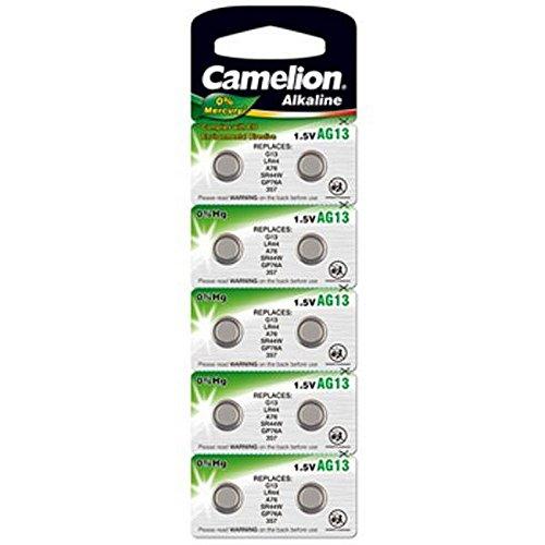 10 Stk. (1 Blister) Camelion 0%HG Alkaline 1,5V Knopfzellen Uhren-Batterien AG13, 357, SR44, LR44, A76, 1154