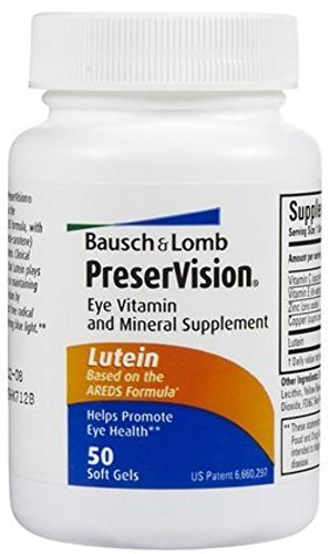 Bausch & Lomb PreserVision Eye Supplement w/ Lutein Softgels, 50 ct (Pack of 2)